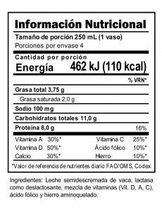 Información Nutricional Leche Deslactosada Trebolac