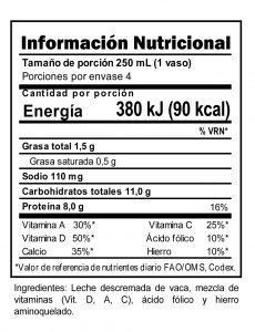 Tabla nutricional Leche Descremada Trebolac