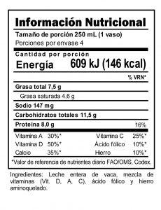 Tabla nutricional Leche Entera Trebolac