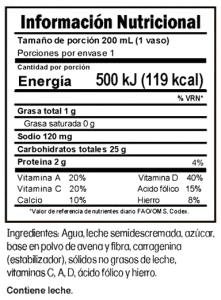 Tabla nutricional Delimilk Avena Trebolac 200 ML