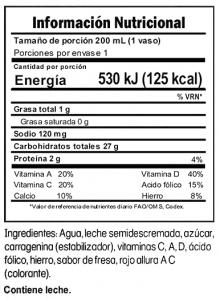 Tabla nutricional Delimilk Fresa Trebolac 200 ML