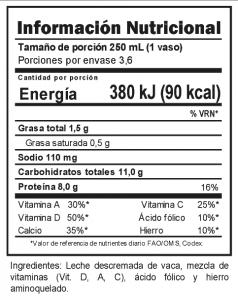 Tabla nutricional Leche Descremada Trebolac UHT 900 ML