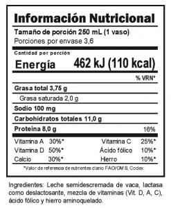 Tabla nutricional Leche Deslactosada Trebolac UHT 900 ML