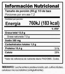 Tabla nutricional Queso Mozzarella Trebolac 400 G