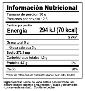 Tabla nutricional Queso Capas Trebolac 370 G