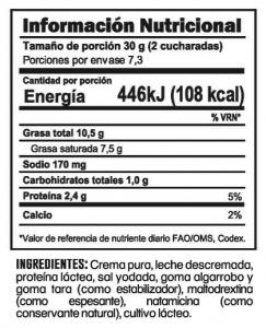 Tabla nutricional Queso Crema Trebolac 220 G