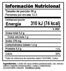 Tabla nutricional Queso Fresco Trebolac 370 G