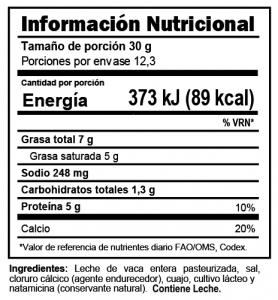 Tabla nutricional Queso Panela Trebolac 370 G
