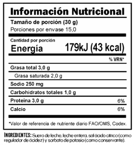 Tabla nutricional Queso Ricotta Trebolac 450 G