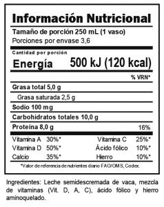 Tabla nutricional Leche Semidescremada Trebolac UHT 900 ML